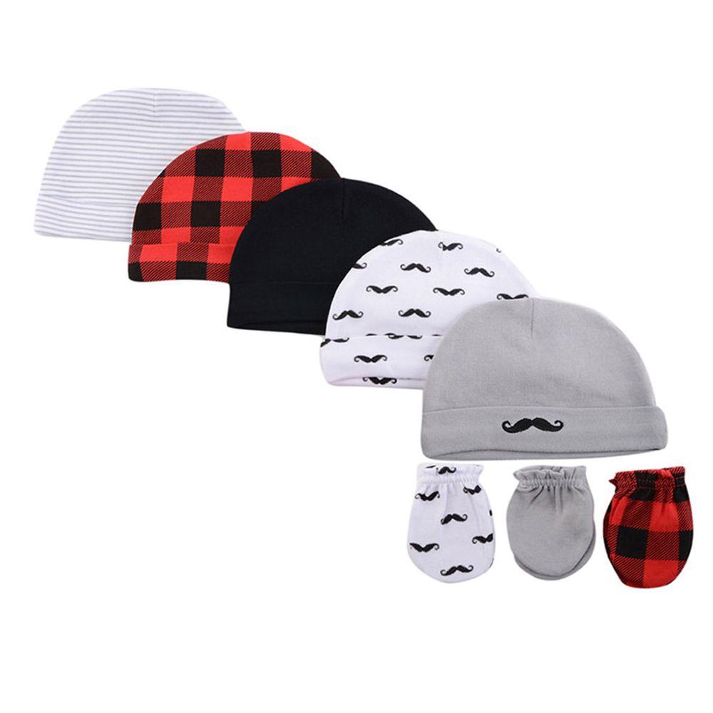 美國 Luvable Friends - 100%純棉新生兒棉帽 保暖帽5件組+防抓手套 護手套3入組-黑紅格紋 (0-6M)
