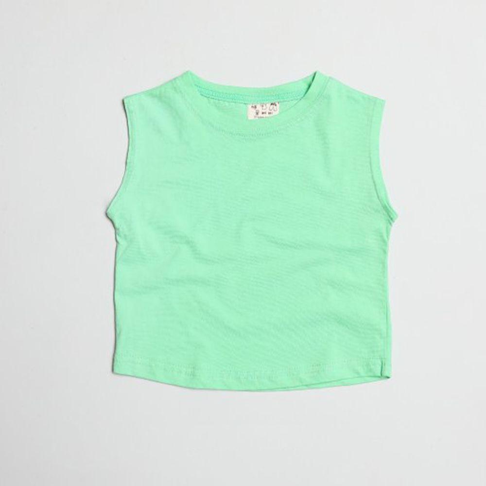 韓國製 - 水洗加工布純棉無袖T-亮綠