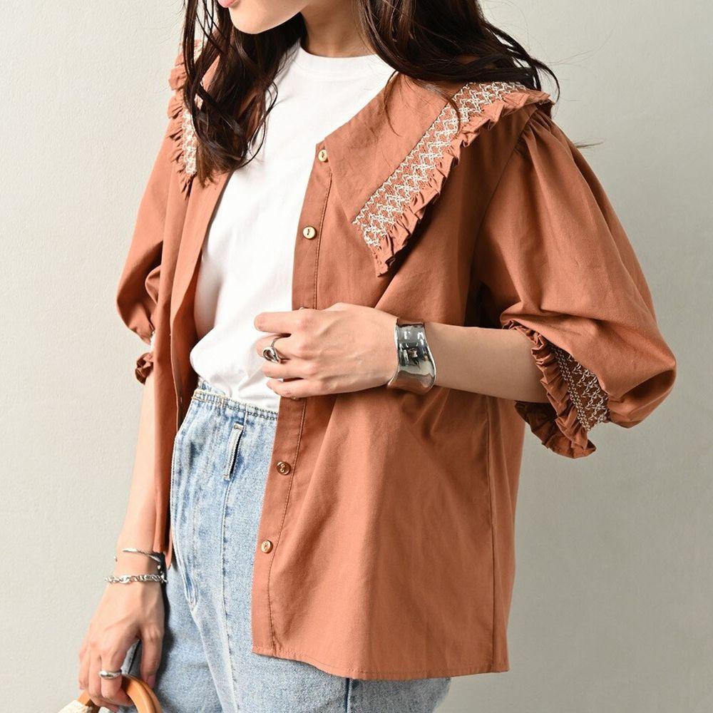 日本 ELENCARE DUE - 歐風刺繡荷葉領五分袖襯衫/外套-橘