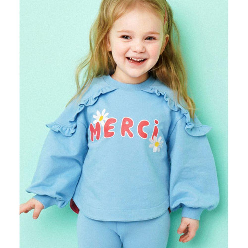 韓國 HEJMINI - 荷葉裝飾小雛菊泡泡袖上衣-天藍