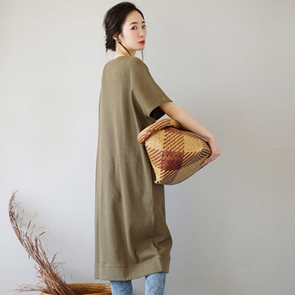 日本 zootie - 純棉 顯瘦鬆餅紋五分袖洋裝-墨綠 (Free)