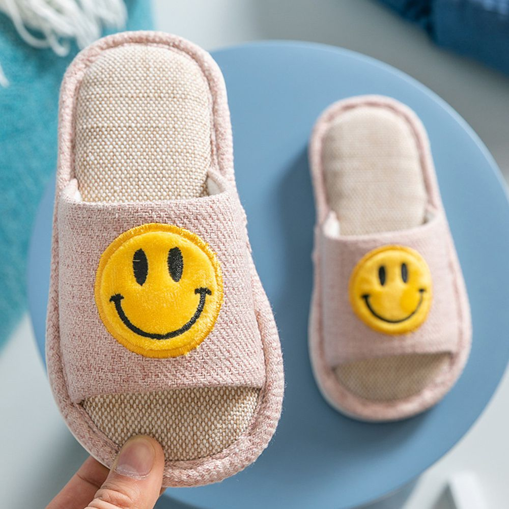 兒童亞麻室內拖鞋-笑臉-淺粉