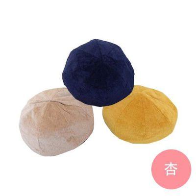 燈芯絨貝蕾帽-氣質杏 (頭圍54cm)
