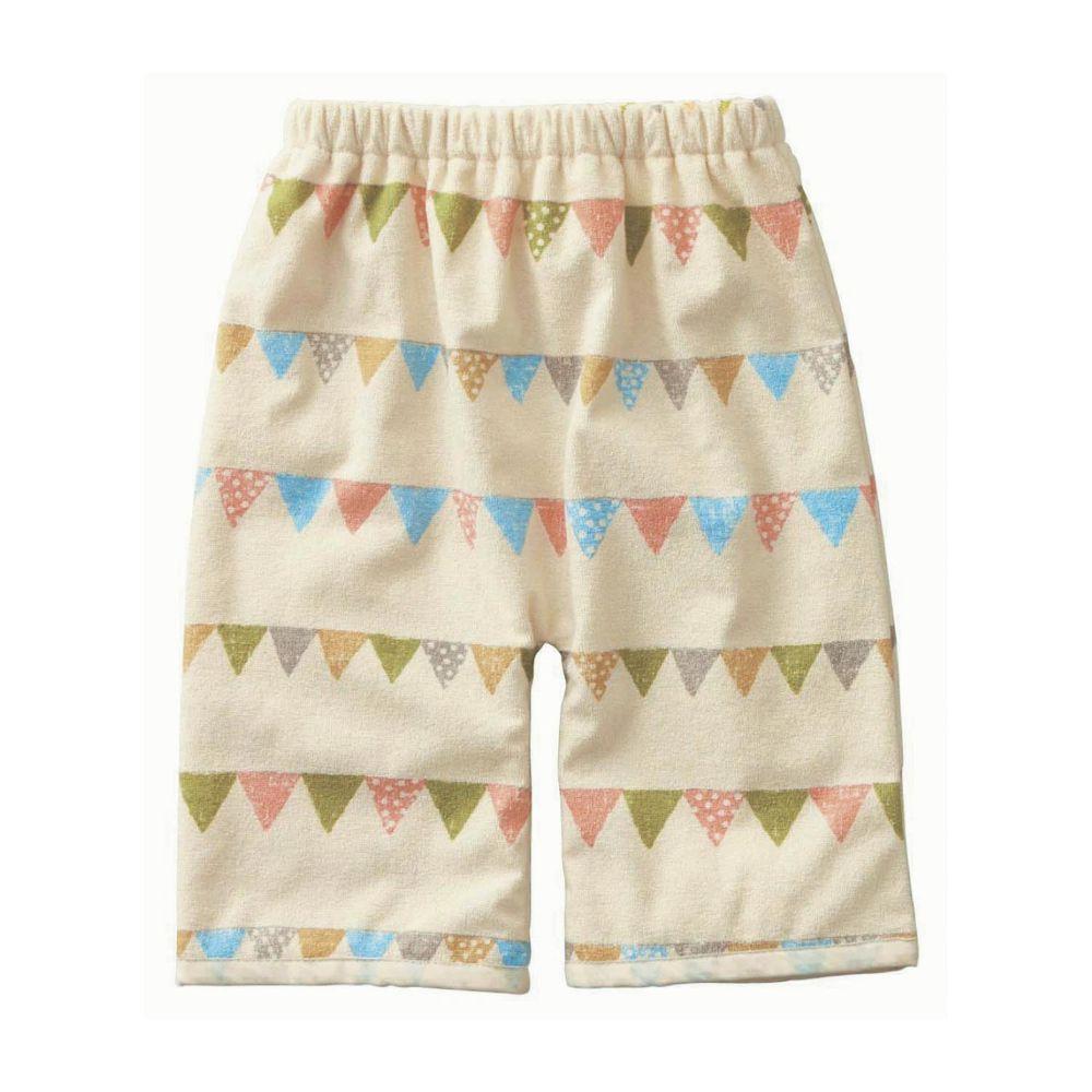 日本千趣會 - 防尿床防水隔尿睡褲-繽紛旗幟-米