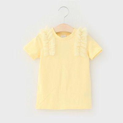 立體薄紗設計短袖上衣-淡黃色