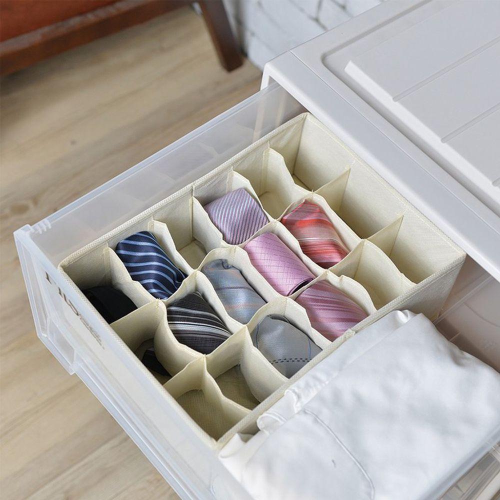 日本天馬 - 抽屜用18小格分類收納布盒-面寬24cm-2入