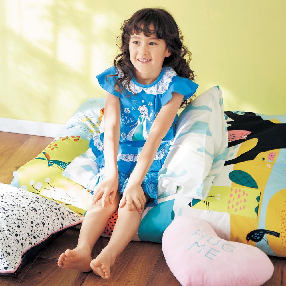 日本千趣會 - 迪士尼純棉公主短袖睡衣/家居服-艾莎-水藍