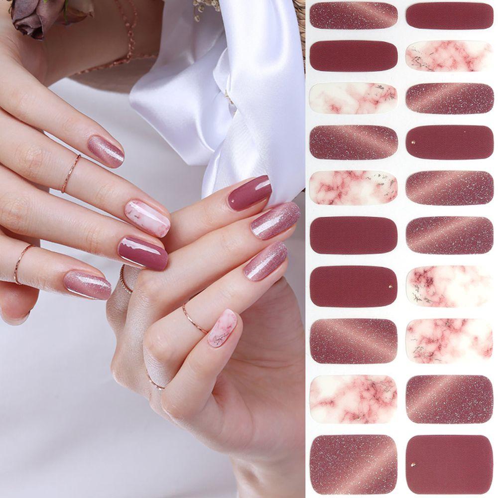 韓國 Glossy Blossom - 美甲貼-微醺香檳-一張20貼+美甲貼磨甲棒