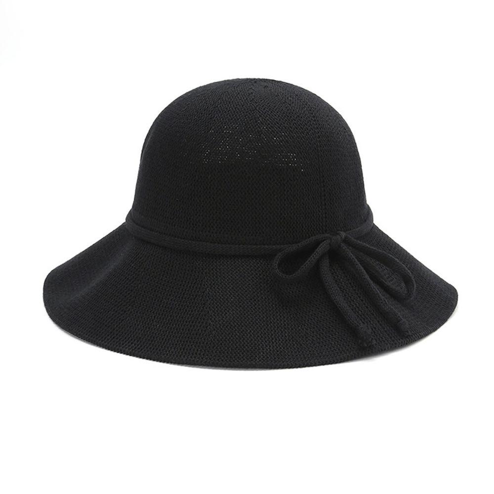 成人透氣可折疊遮陽棉纱草帽-綁繩蝴蝶結-黑色 (56-58cm)