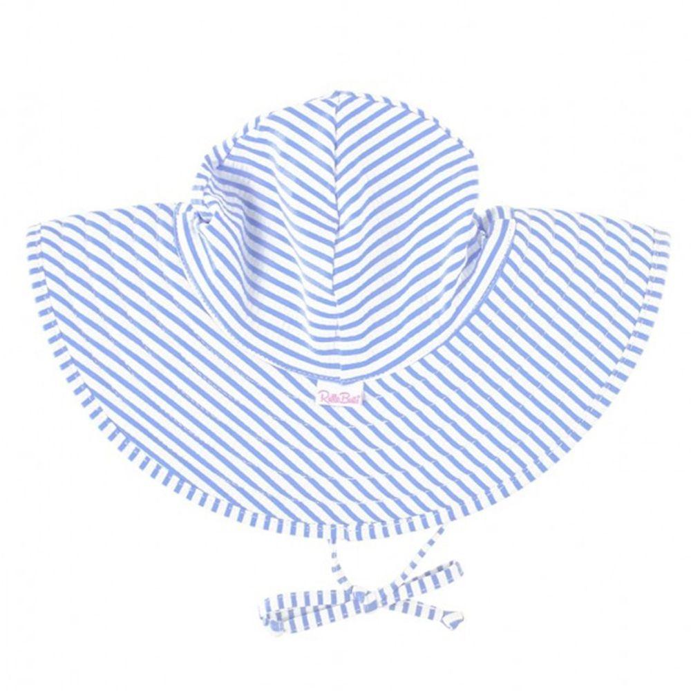 美國 RuffleButts - 嬰幼兒UPF 50+防曬遮陽帽-藍色條紋