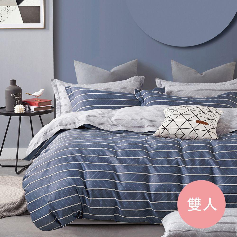 PureOne - 極致純棉寢具組-麥克風-藍-雙人四件式床包被套組