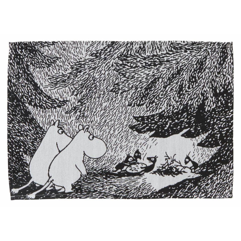 日本千趣會 - 嚕嚕米 編織感餐墊-森林奇遇-黑白 (33x48cm)