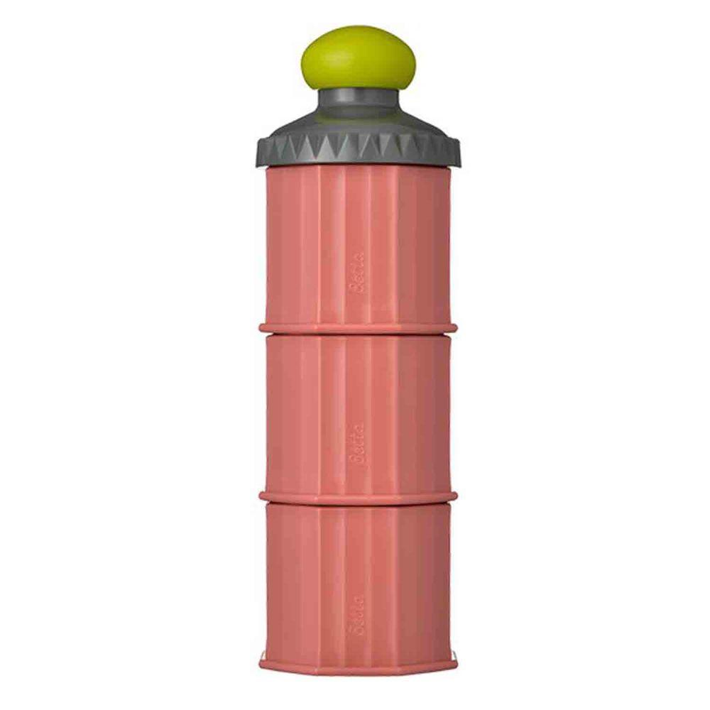 日本 Bétta - 城堡三層奶粉收納罐/分裝罐/零食盒-茶花紅
