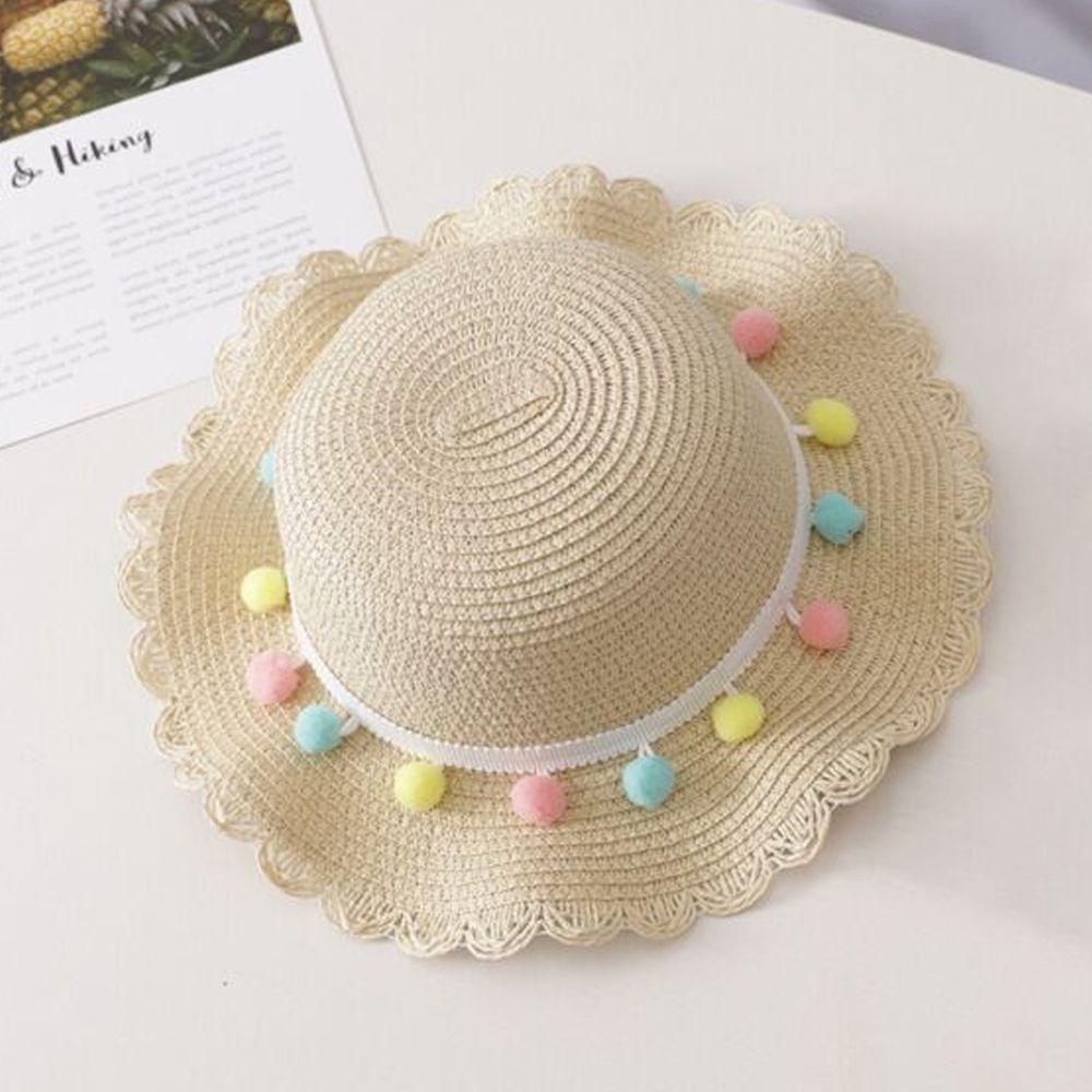 糖果球草帽-米色