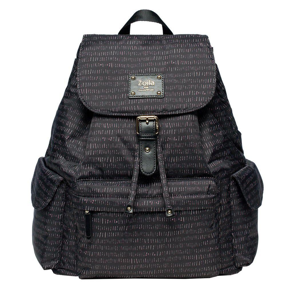 Zoila - 風格束口後背包-線條黑-輕量美型媽媽包