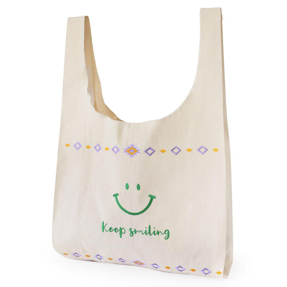 日本 TOMO - 有機棉圖騰刺繡環保購物袋(可收納)-微笑-草綠 (L(75x47cm))