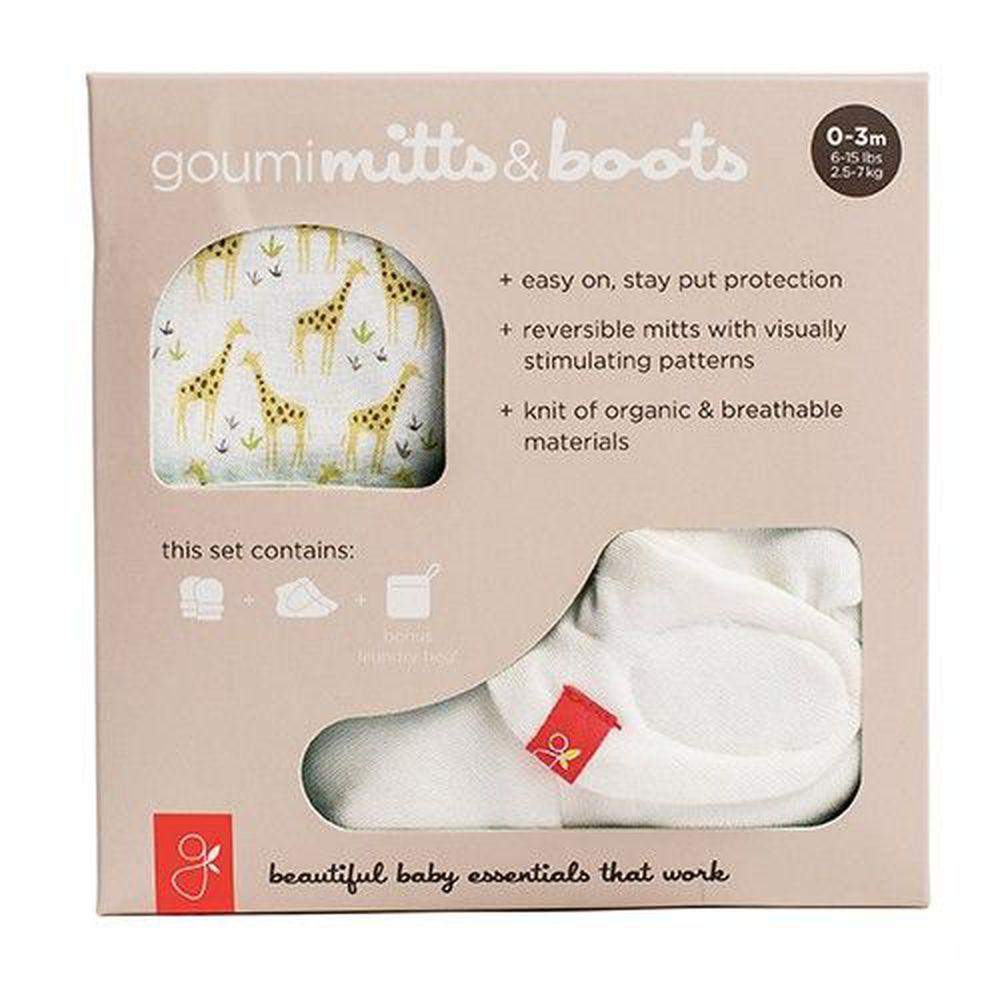 美國 GOUMIKIDS - 有機棉手腳套組合禮盒-長頸鹿