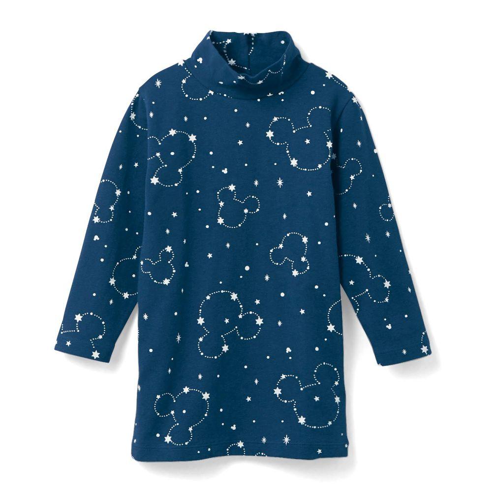 日本千趣會 - 95%棉 (兒童) 迪士尼發熱衣-滿版星空米奇-深藍