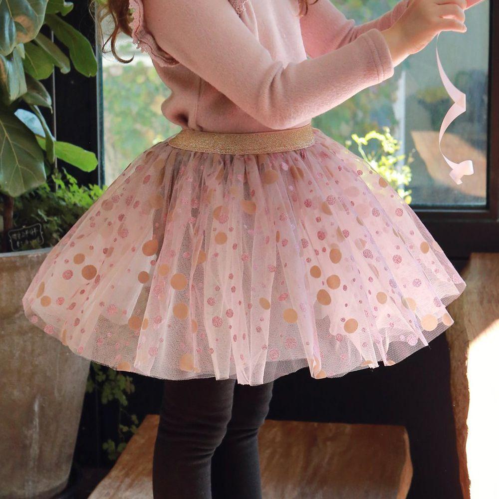 韓國 PuellaFLO - (剩5號)大小波點網紗褲裙-粉紅