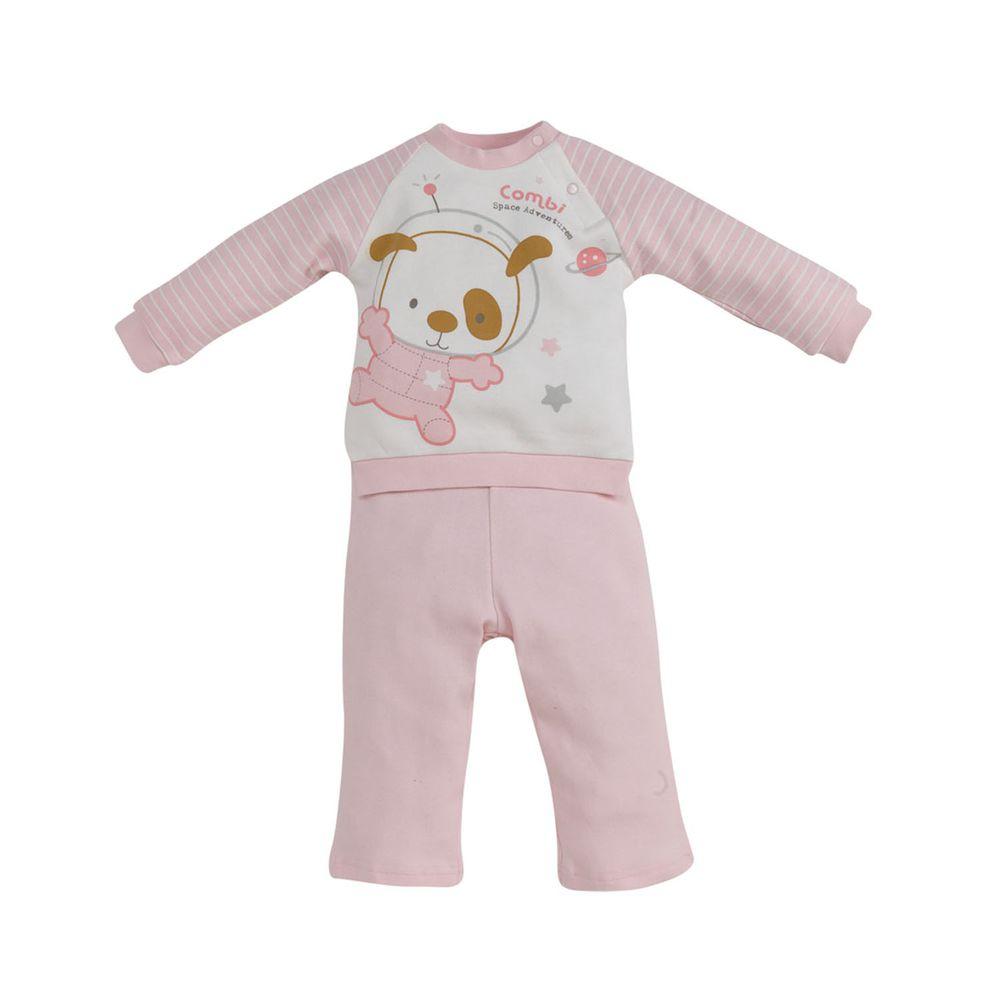 日本 Combi - 斜開套裝(純棉)-太空冒險-粉色