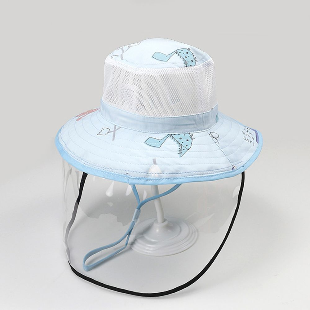 透氣網眼防飛沫大帽沿遮陽帽-藍色恐龍