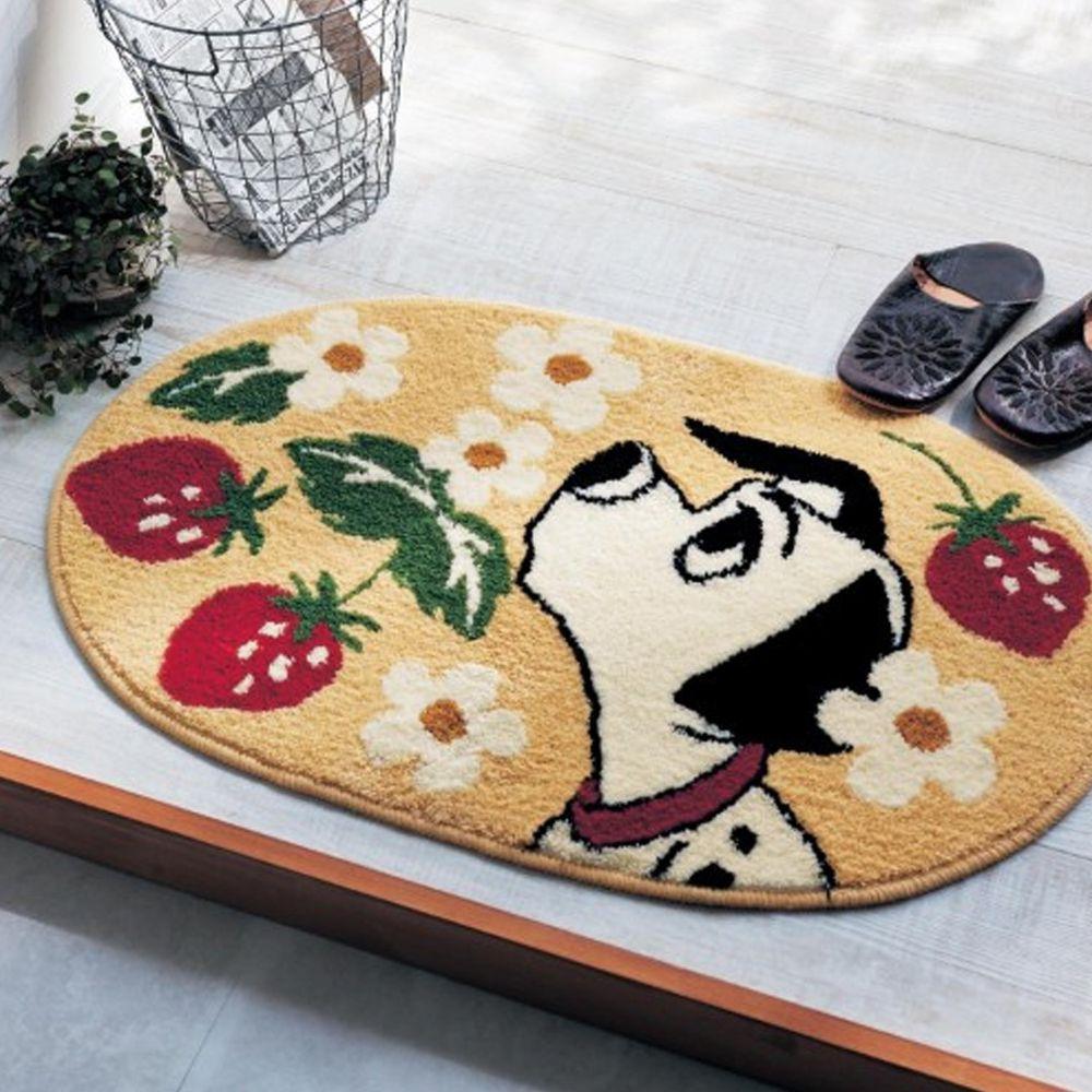 日本千趣會 - 迪士尼 花語腳踏墊(玄關/房門)(附止滑墊2片)-101忠狗草莓-米黃
