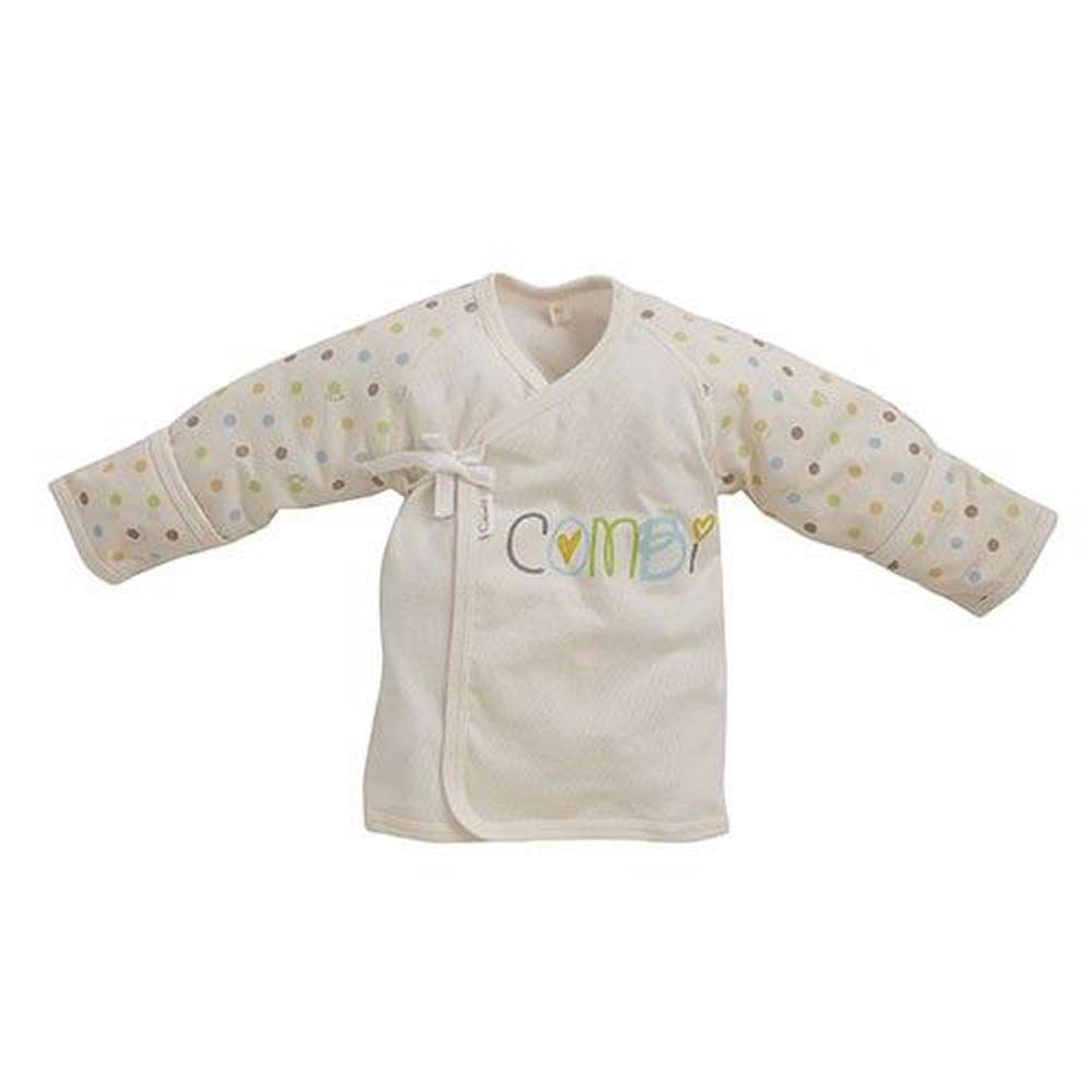 日本 Combi - 反折袖肚衣(有機棉)-多彩圓點-米色