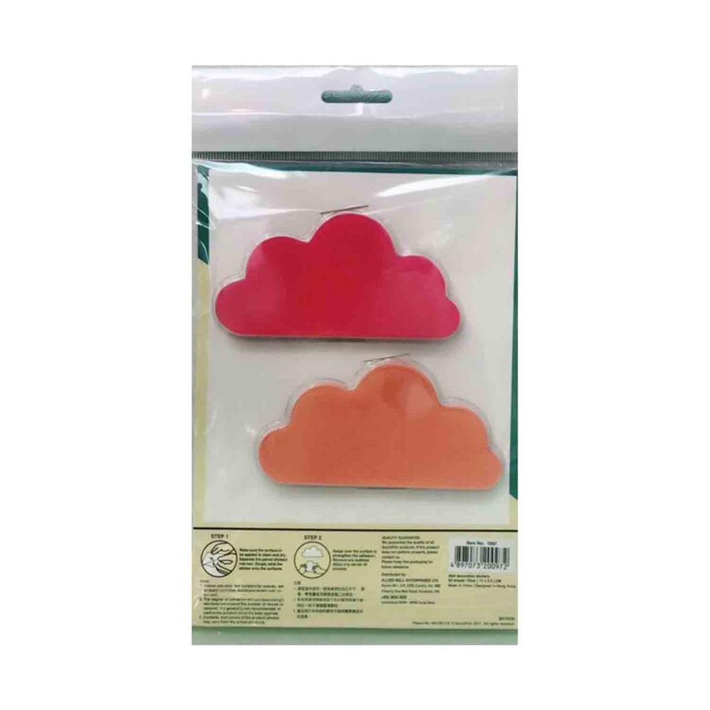 Kiss貼貼 - Kiss貼貼靜電無痕隨變貼 甜甜雲朵 (桃紅+橘)-桃紅 X 30pcs+橘 X 30pcs 共60張(11 X 5.5cm)