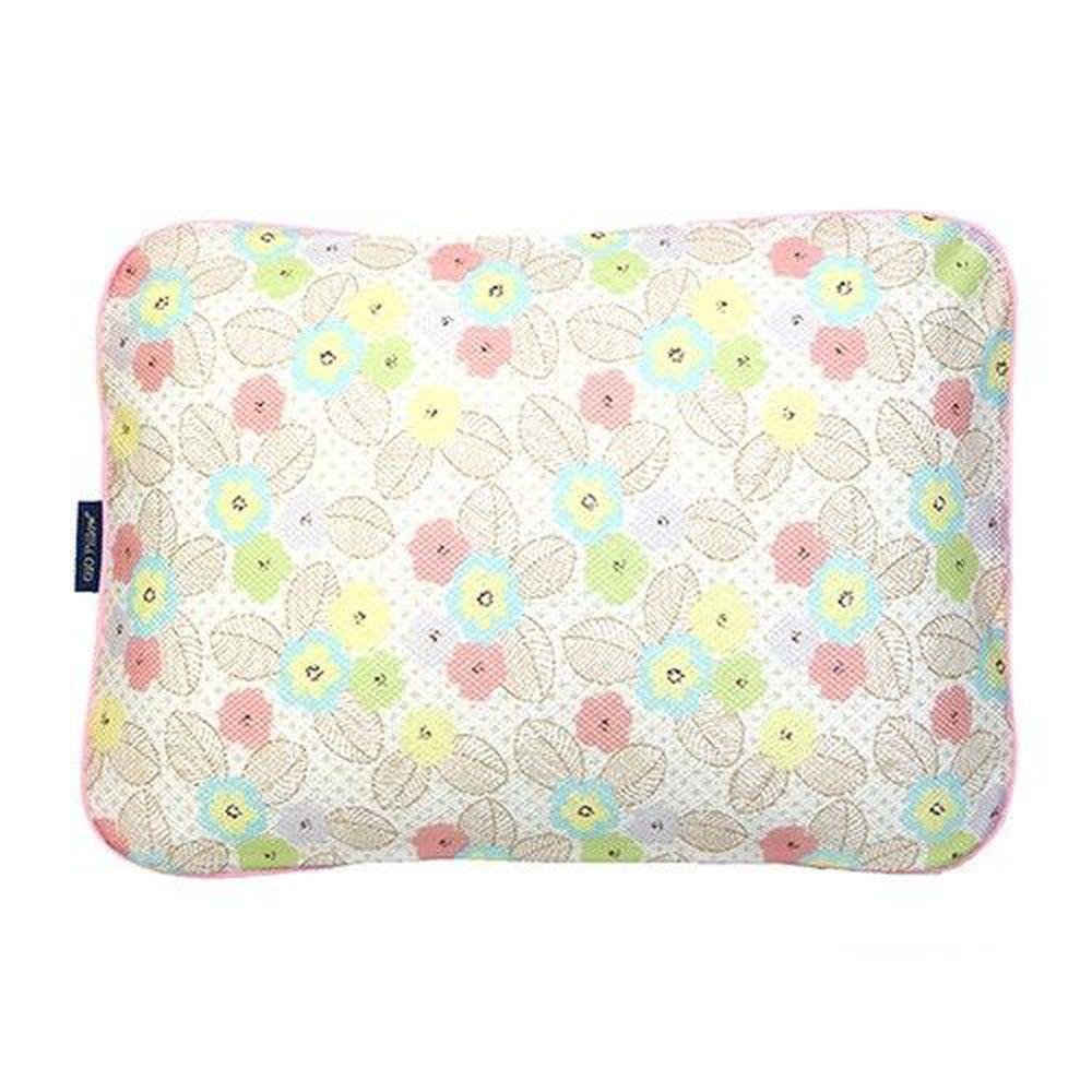 韓國 GIO Pillow - 超透氣防螨兒童枕頭-單枕套組-粉漾花朵 (L號)-2歲以上適用