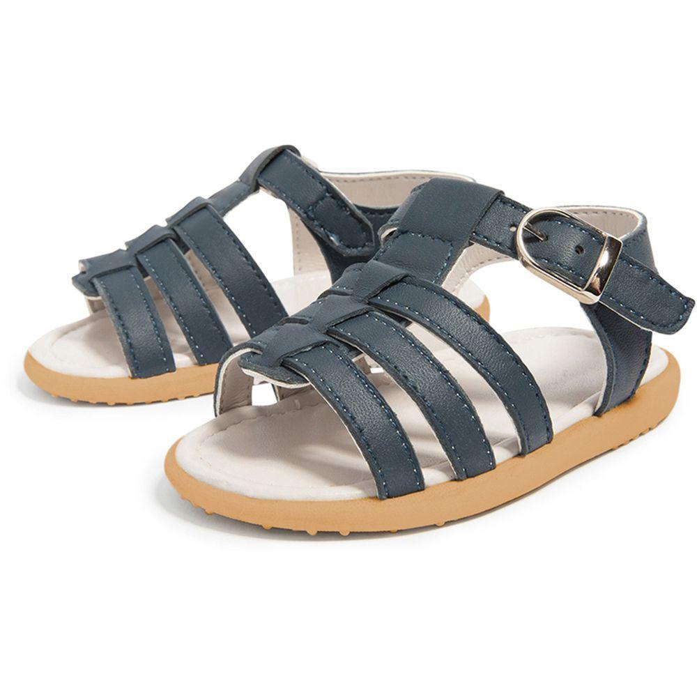 英國 shooshoos - 健康無毒真皮手工涼鞋/童鞋-青玉藍