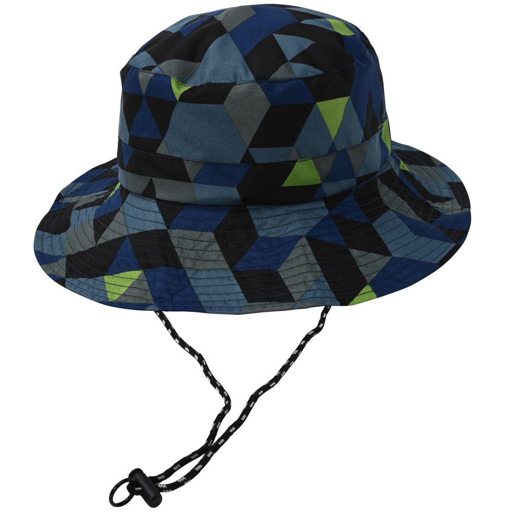日本 nifty colors - 可折疊輕量抗UV防潑水遮陽帽(頭圍可調)-幾何方塊-藍黑 (F(頭圍56~59cm))