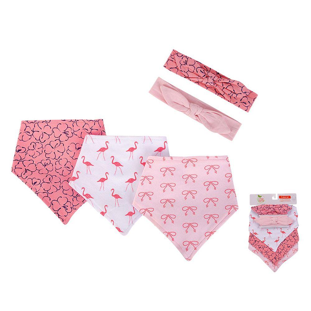 美國 Luvable Friends - 100%純棉三角領巾3入組+髮帶2入套裝組-紅鶴學校