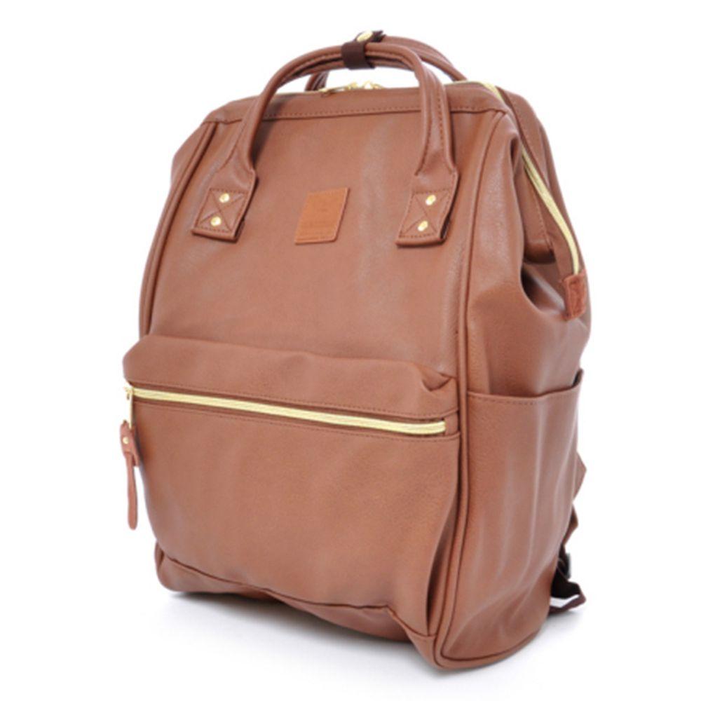 日本 Anello - 日本大開口皮革後背包-Regular大尺寸-BR咖啡色