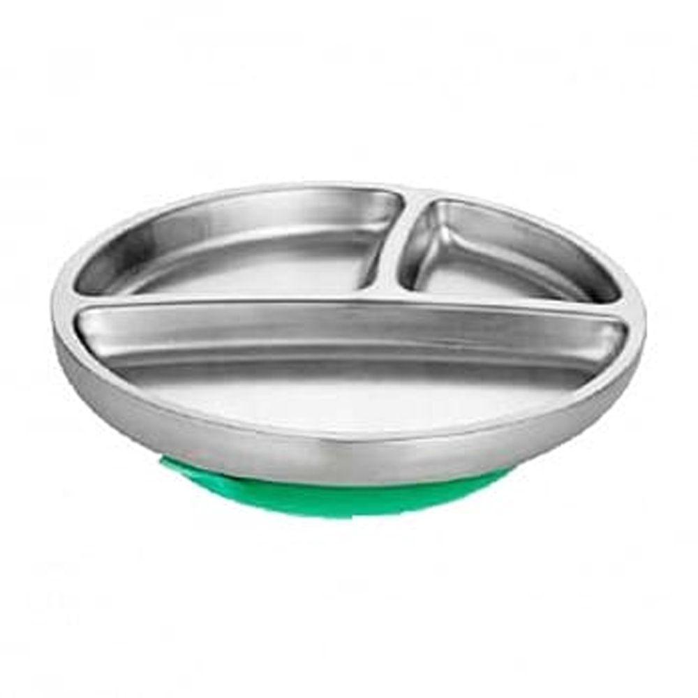 Avanchy - 雙層不鏽鋼-吸盤式餐盤-綠
