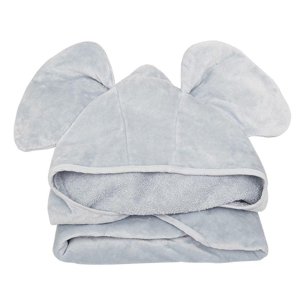 英國 JoJo Maman BeBe - 100%純棉動物造型連帽浴巾/包巾-優雅灰大象