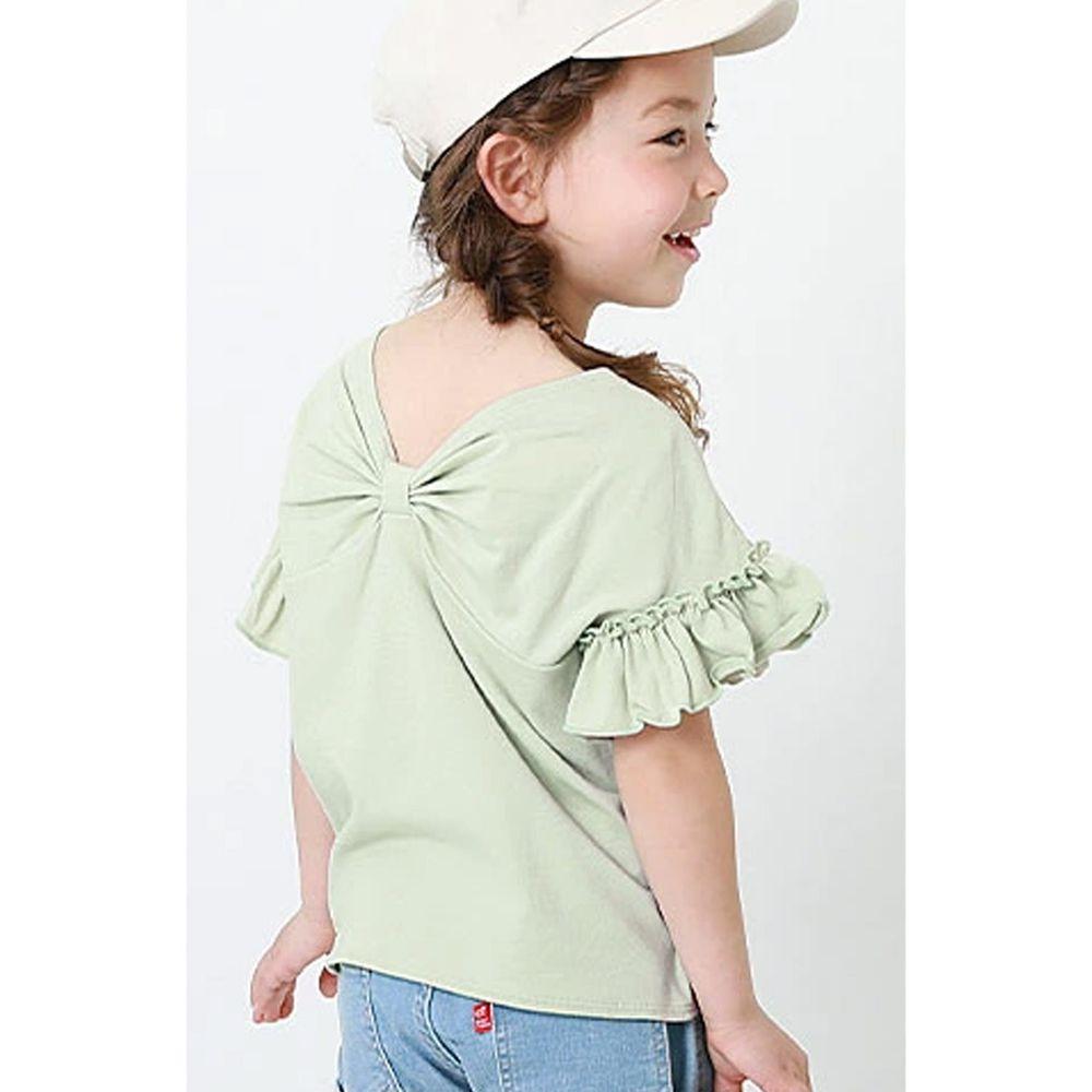 日本 devirock - 純棉 美背大蝴蝶結荷葉邊短T-薄荷綠