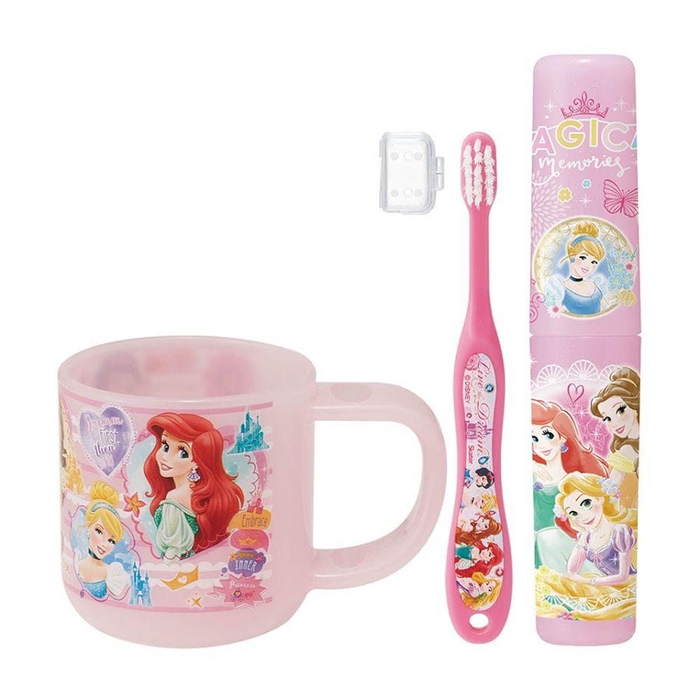 日本 SKATER - 潔牙套組(牙刷杯組+收納罐)-迪士尼公主