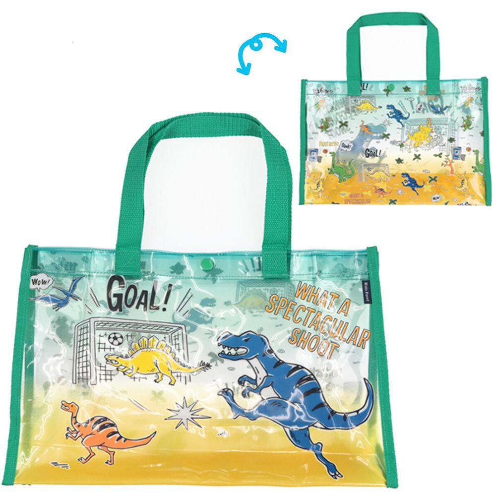 日本服飾代購 - 防水PVC游泳包(雙面圖案設計)-恐龍踢足球-綠 (25x36x13cm)