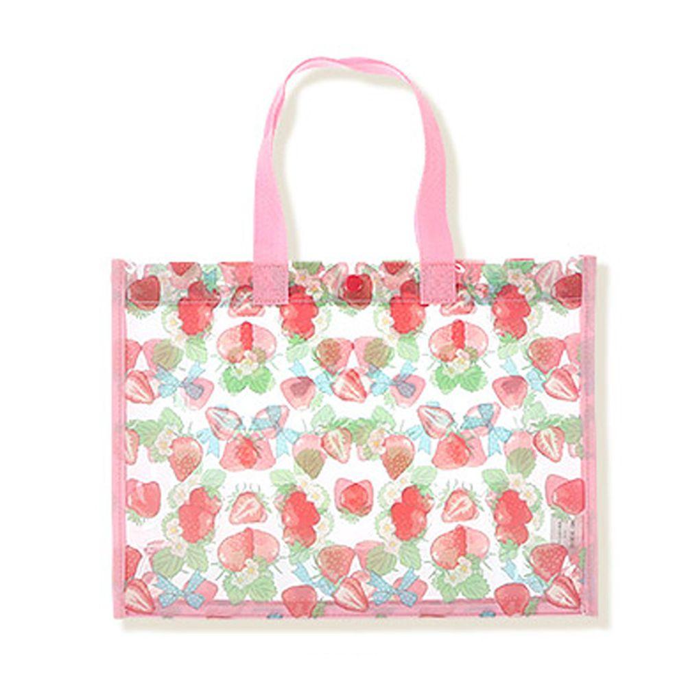 日本 ZOOLAND - 防水PVC手提袋/游泳包-B草莓世界-粉 (25x34x11cm)