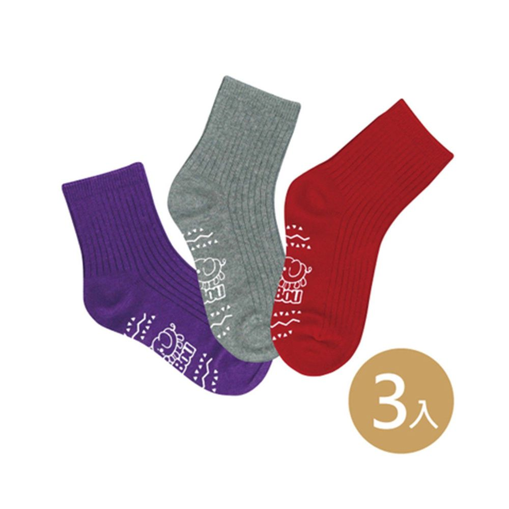 貝柔 Peilou - 貝寶萊卡義式對目柔棉止滑彩虹短襪-3色各1雙(紫/紅/灰)
