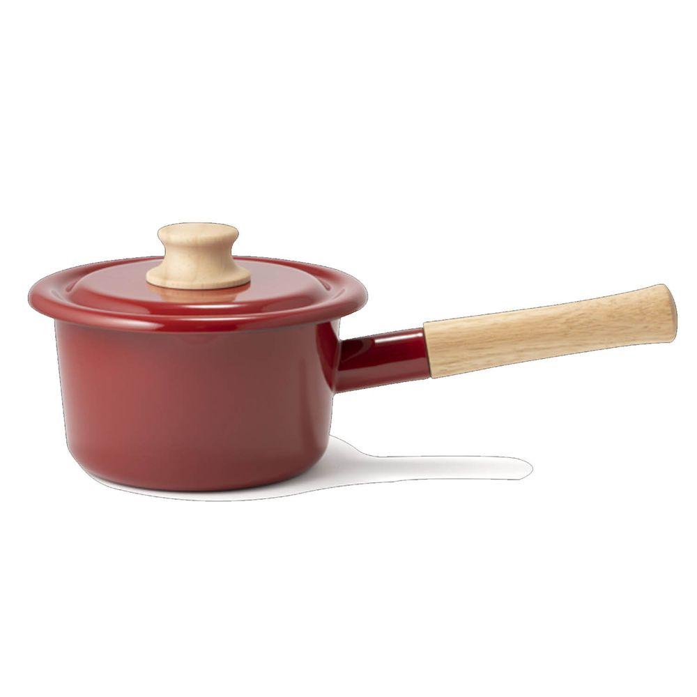 FUJIHORO 富士琺瑯 - 簡約系列-14cm單柄附蓋琺瑯牛奶鍋-勃根地紅-容量:1.6L 重量:1.08kg