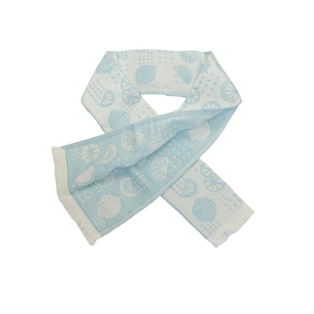 日本涼感雜貨 - 日本製 Eco de COOL 接觸冷感毛巾(附保冷劑)-檸檬-藍 (90x8cm)