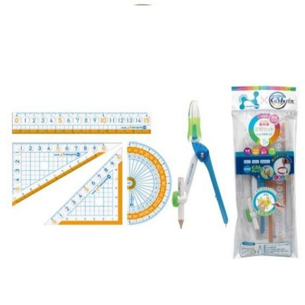 日本文具 SONIC - 學童用大數字尺規 5 件組-尺+三角板*2+量角器+圓規