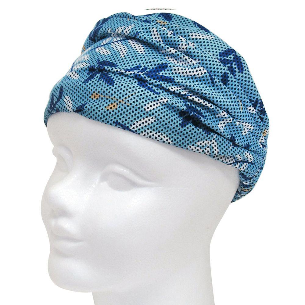 日本 DAIKAI - 3way吸水速乾UV CUT加工 涼感頭巾/髮帶/領巾-清新葉子-水藍