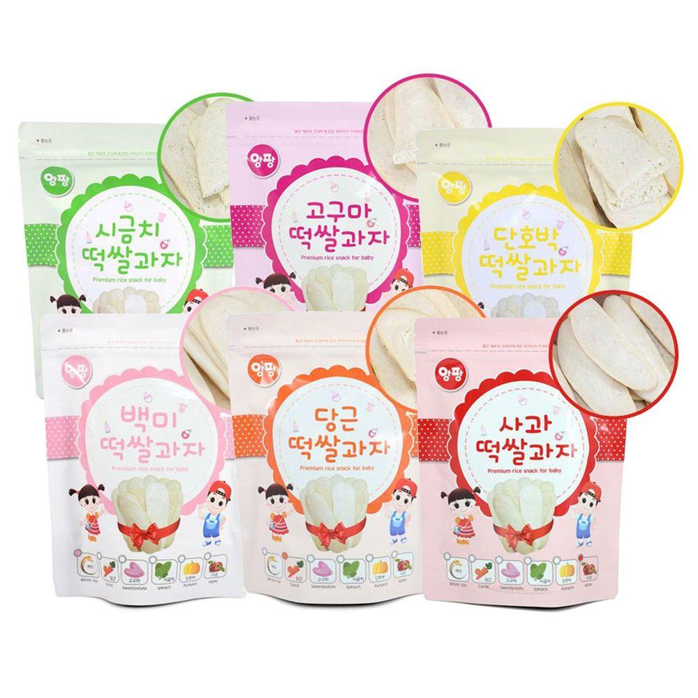 韓國安朋 - 大米米餅綜合6入組-胡蘿蔔、白米原味、紫薯、南瓜、蘋果、菠菜-20g*6
