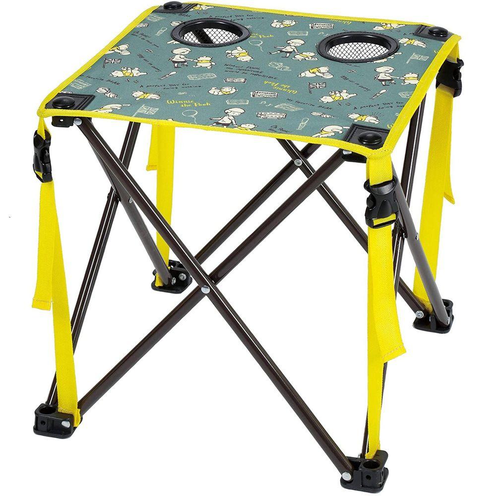 日本 Pearl 金屬 - 迪士尼 輕巧摺疊小桌(杯架*2)-維尼-綠X黃