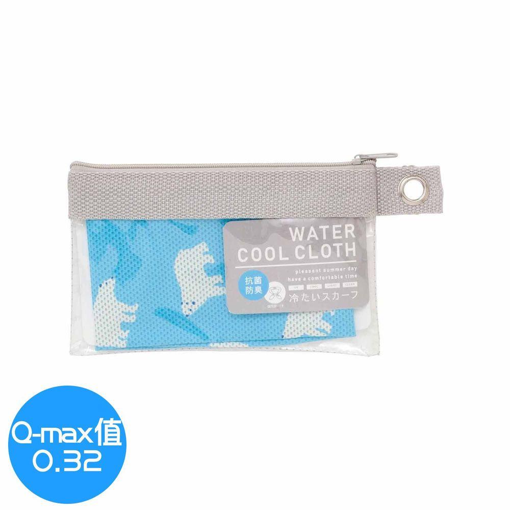 日本小泉 - UV cut 90% 水涼感領巾(附保冷劑/收納袋)-北極熊20-藍 (8.5x88cm)