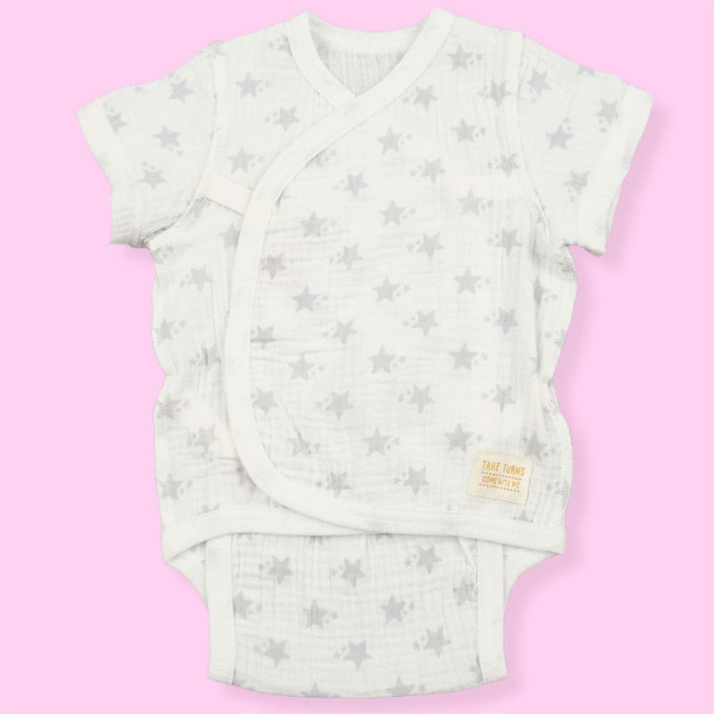akachan honpo - 新生兒短袖包屁衣-穆斯林紗布-米白色 (50~60cm)