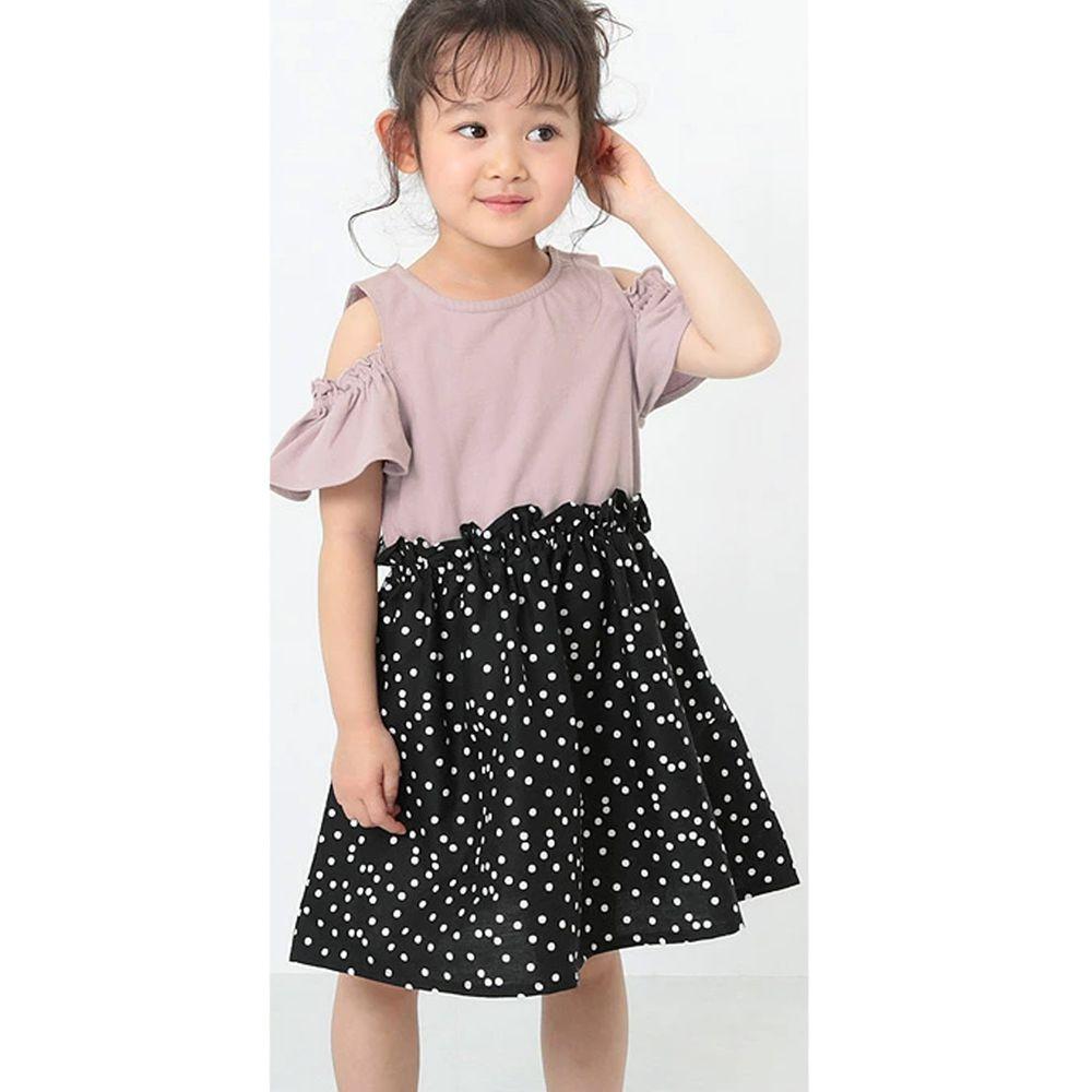 日本 devirock - 挖肩荷葉短袖拼接洋裝-粉X黑白點點