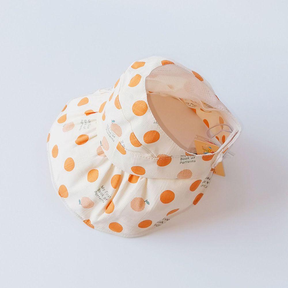 兒童薄款空頂遮陽帽-橘色點點 (49-51cm)